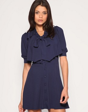 Image 1 of ASOS Pussybow Frill Back Dress