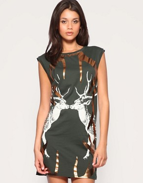 Image 1 of ASOS Foil Antler Jersey Dress