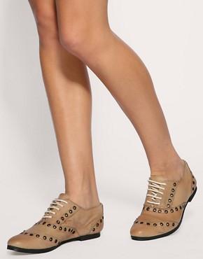 Image 3 ofASOS MILO Leather Eyelet Flat Shoes