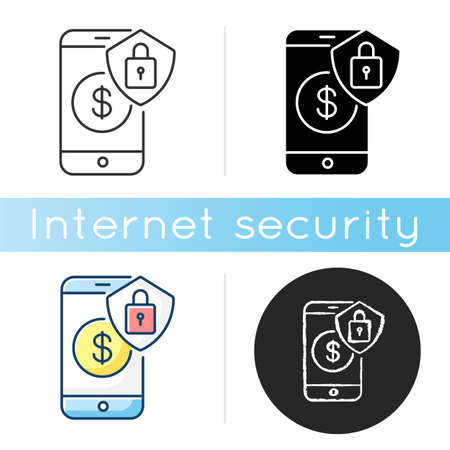 Online Banking Security Icon Money Savings Digital Wallet Safety Bank Account Smartphone App Access Protection Linear Black And Rgb Color Styles Isolated Vector Illustrations Royalty Free Vector Graphics