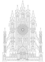 Fantasy drawing of medieval Gothic castle Black and white page for coloring Worksheet for children and adults Vector image :: tasmeemME com