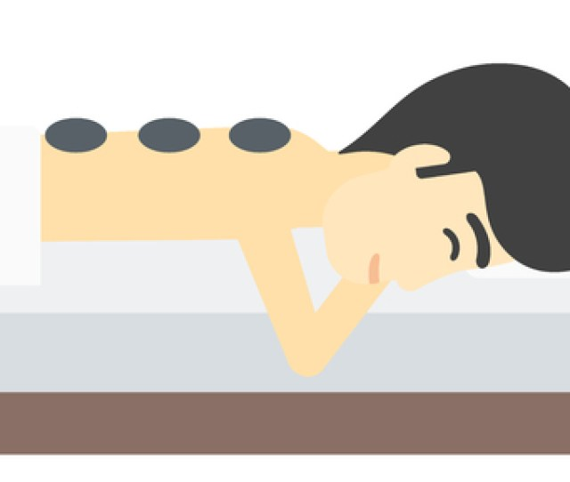 An Asian Man Relaxing While Getting Stone Therapy Massage Vector Flat Design Illustration Isolated On White