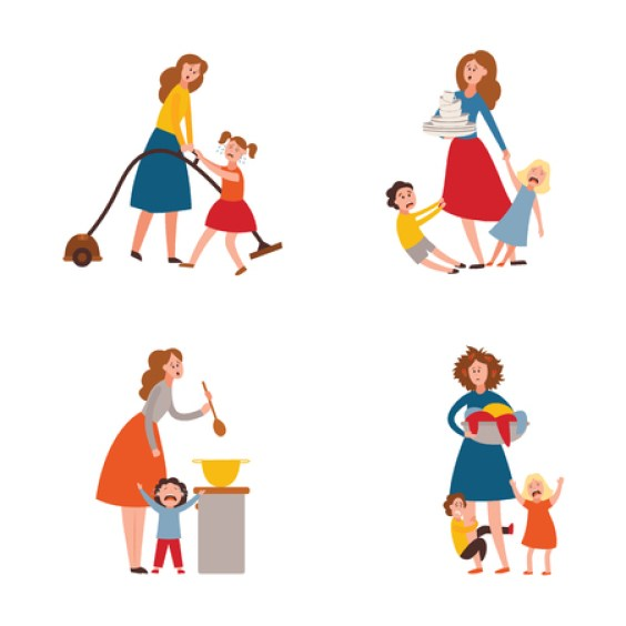 Vector parenthood problems of big family. Tired, exhausted mother with  naughty and nasty children crying trying to handle kids and household  chores. Mom holding dirty laundry, cooking, washing dishes:: موقع تصميمي