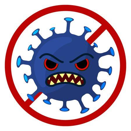 Stop Corona Virus Cartoon Image