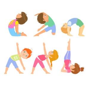 yoga poses drawing simple doing cartoon pose ungar som poserar childish bambini bright stelt jonge vektor faisant enfants simples bending