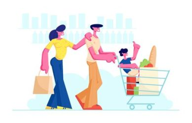 Family Shopping in Supermarket with Product Cart Father Pushing Trolley with Purchases and Son inside Fun Lifestyle Characters in Mall Parents and Child at Shop Cartoon Flat Vector Illustration:: tasmeemME com
