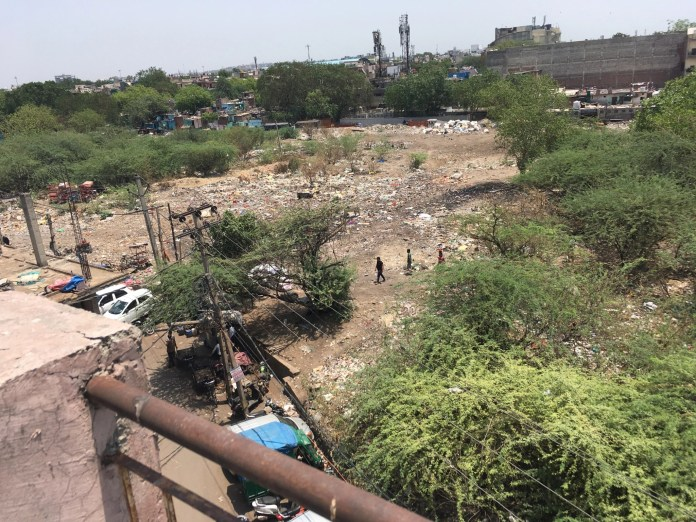 View from Gupta's terrace that shows the vacant plot