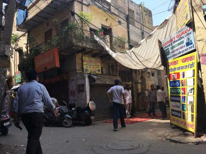Relatives outside Dhruv Raj Tyagi's house on Tuesday