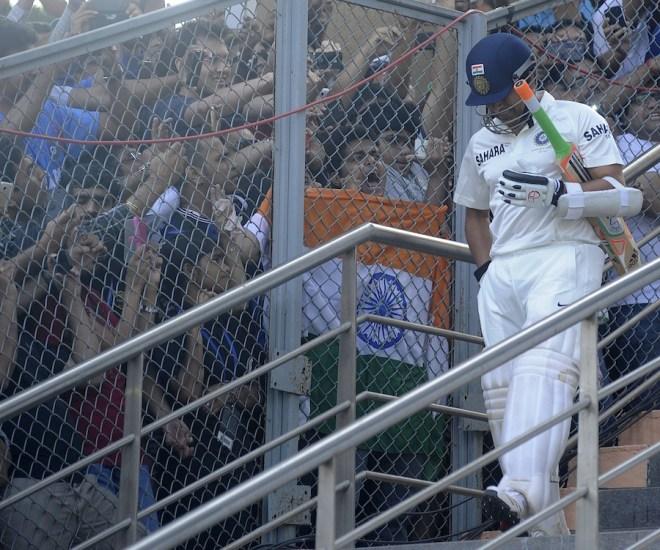 Sachin Tendulkar walks out to bat in his final Test. (Photo Courtesy: BCCI)