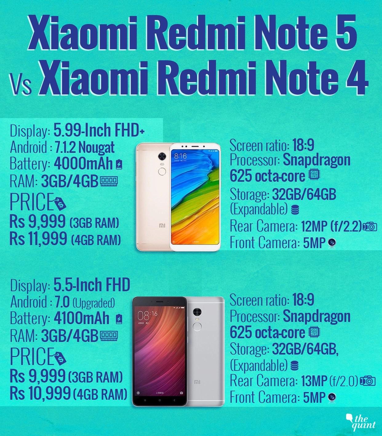 Redmi Note 5 versus Redmi Note 4: What's different?