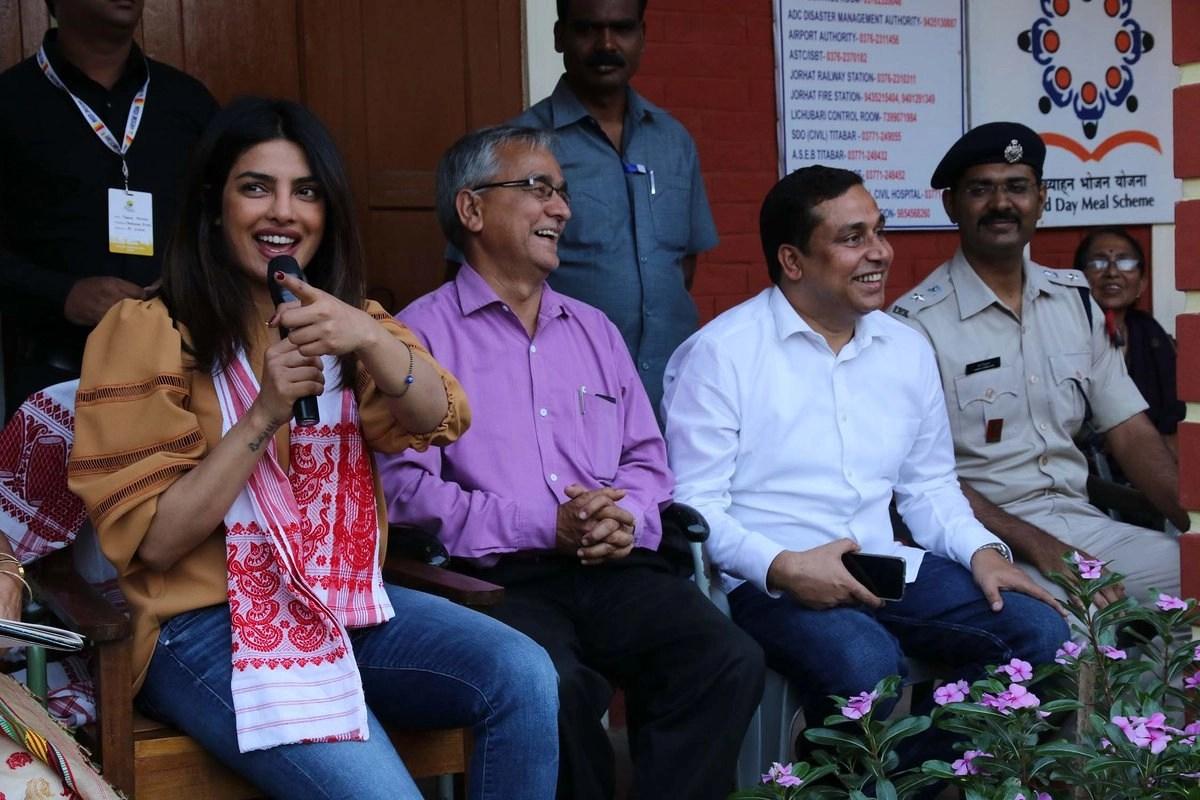 Priyanka Chopra addresses the students.
