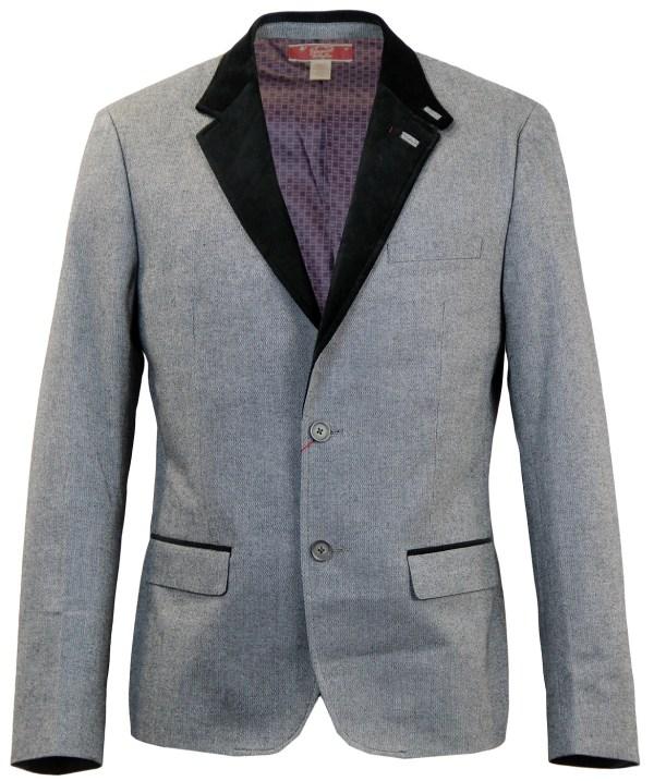 Original Penguin Retro Mod Sixties Suit Jacket In Grey Black