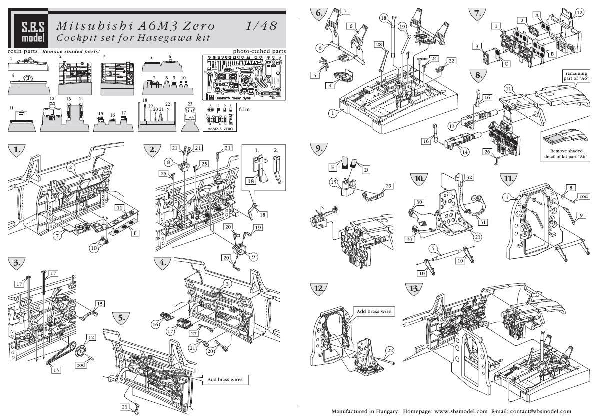 SBS Models 1/48 MITSUBISHI A6M3 ZERO HAMP COCKPIT SET