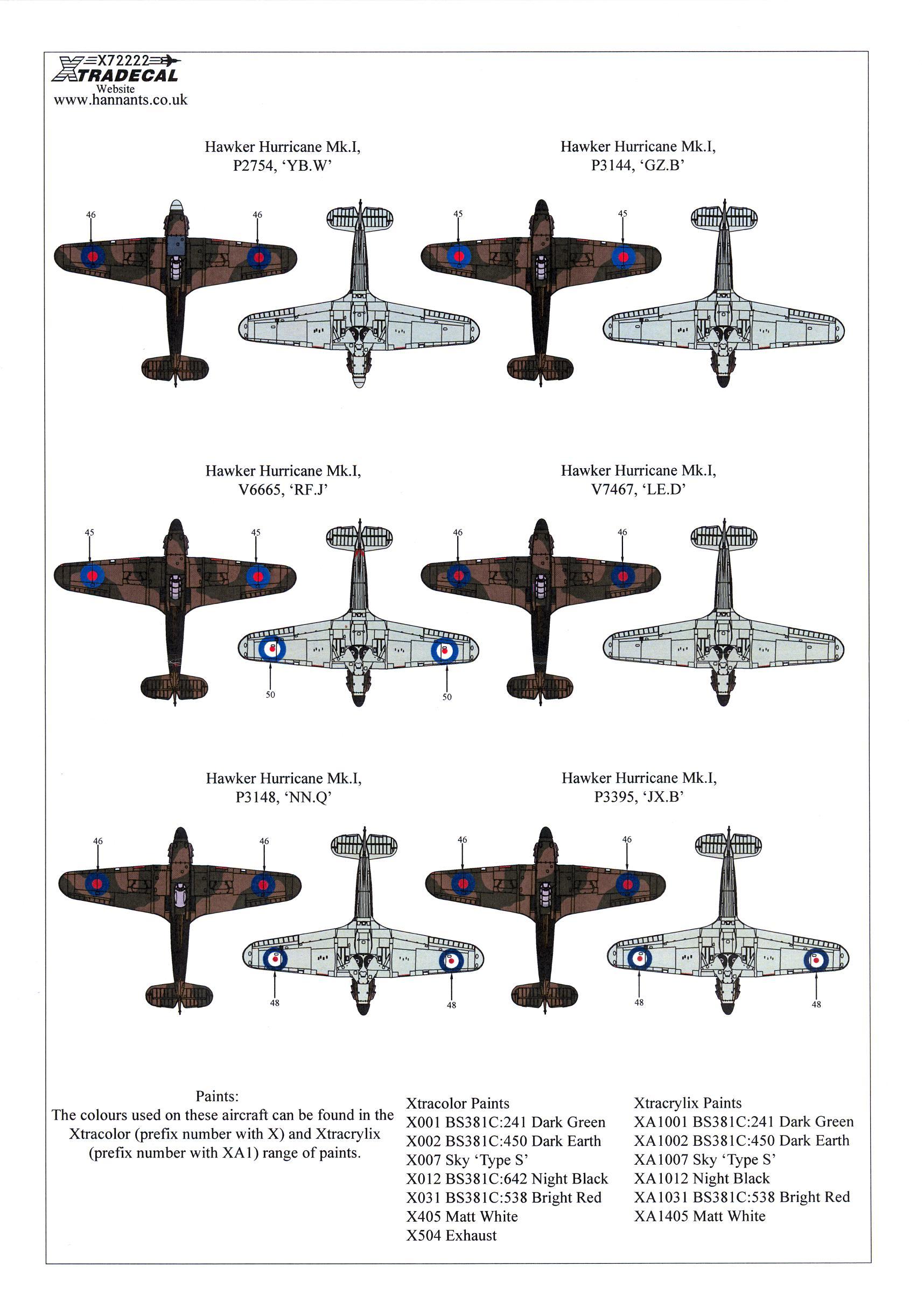 Xtra Decals 1/72 HAWKER HURRICANE Mk.I 75th Anniversary