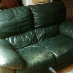 Dark Green Leather Sofa Best Affordable Sectional Sofas Couch 2 Seater For Sale In Scarborough Western