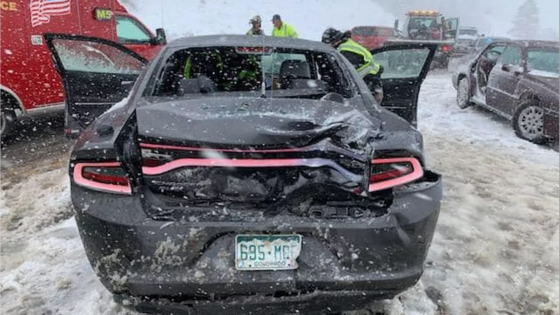 Colorado State Patrol attended crashes in snowy conditions Wednesday.
