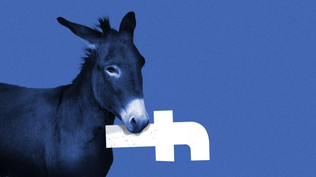 Illustration of a donkey with the Facebook logo in its mouth