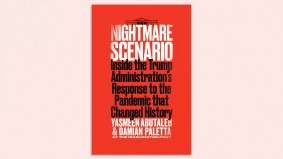 """Picture of the cover of a book called """"Nightmare Scenario: Inside the Trump Administration's Response to the Pandemic that Changed History"""""""