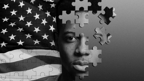 Illustration of an unfinished puzzle featuring an African American man against an American flag