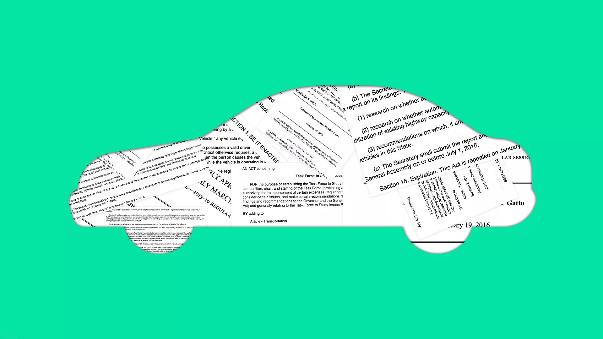hight resolution of illustration of car collaged with legal docs
