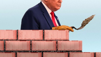 Photo illustration of President trump building a wall of ballots