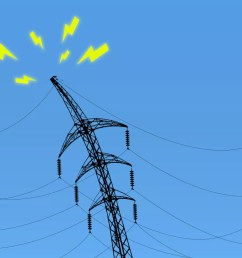 illustration of a power line struggling under the weight of electrical wires [ 1920 x 1080 Pixel ]