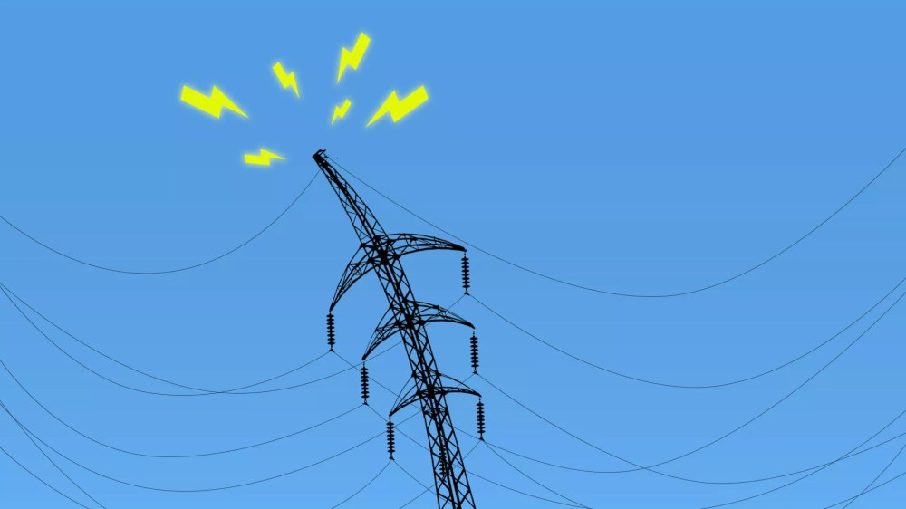 medium resolution of illustration of a power line struggling under the weight of electrical wires