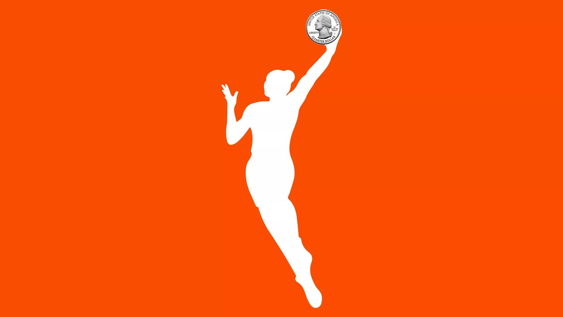 WNBA logo with a quarter in place of the basketball ball