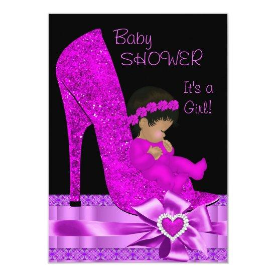 African American Baby Shower Pink Purple Shoe Card