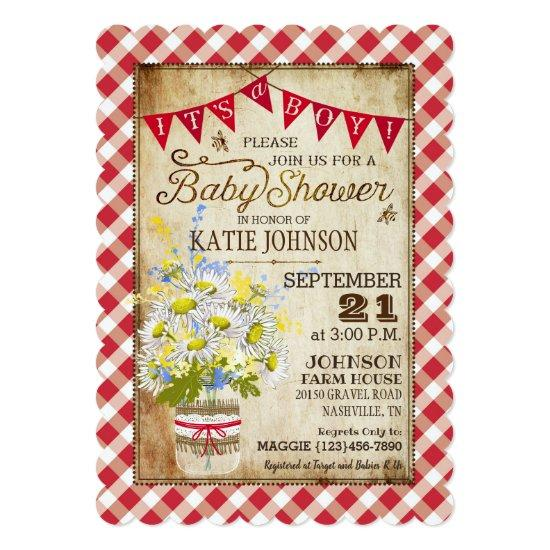 Country Daisies Gingham Check Boy Baby Shower Invitation