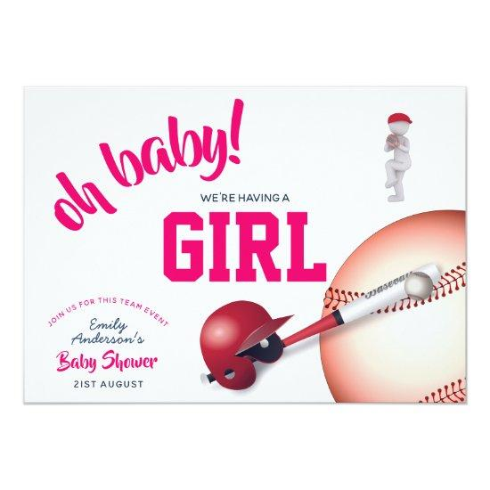 girl baseball baby shower