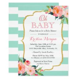 Oh Baby Shower Mint Green Stripes Pink Fl