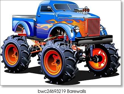 cartoon monster truck art print poster