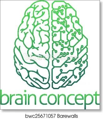 brain half electrical circuit board concept art print poster