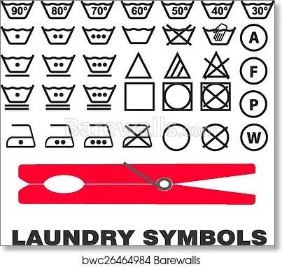 laundry care symbols icons art print poster