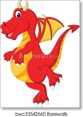 Cute Baby Dragon Cartoon Art Print Barewalls Posters Prints Bwc33542660