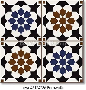 ceramic tile pattern of islamic retro blue brown star flower square cross art print poster