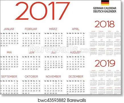 picture 2017 Poster Calendar Template german calendar 2017 2018 2019 template art print poster