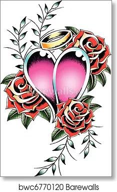 Gothic Heart Tattoo : gothic, heart, tattoo, Gothic, Heart, Tattoo, Emblem,, Print, Barewalls, Posters, Prints, Bwc6770120