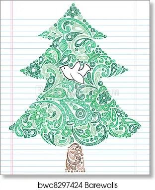 Christmas Tree Doodle : christmas, doodle, Christmas, Sketchy, Doodle,, Print, Barewalls, Posters, Prints, Bwc8297424