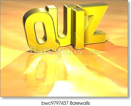 word quiz on yellow background art print poster