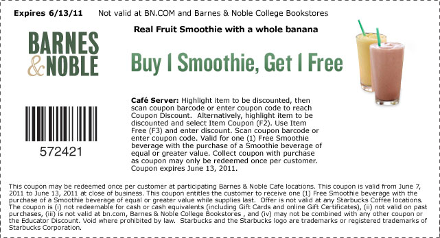 Barnes & Noble B1G1 Free Smoothie Coupon | that makes ...