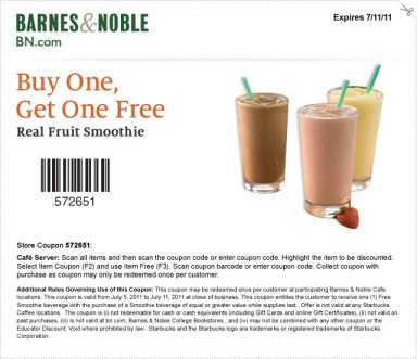 Buy One, Get One Free Real Fruit Smoothie. Expires 7/11/11. Store Coupon: 572651