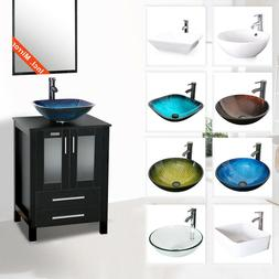 24 Black Bathroom Vanity Vessel Sink Set Cabinet