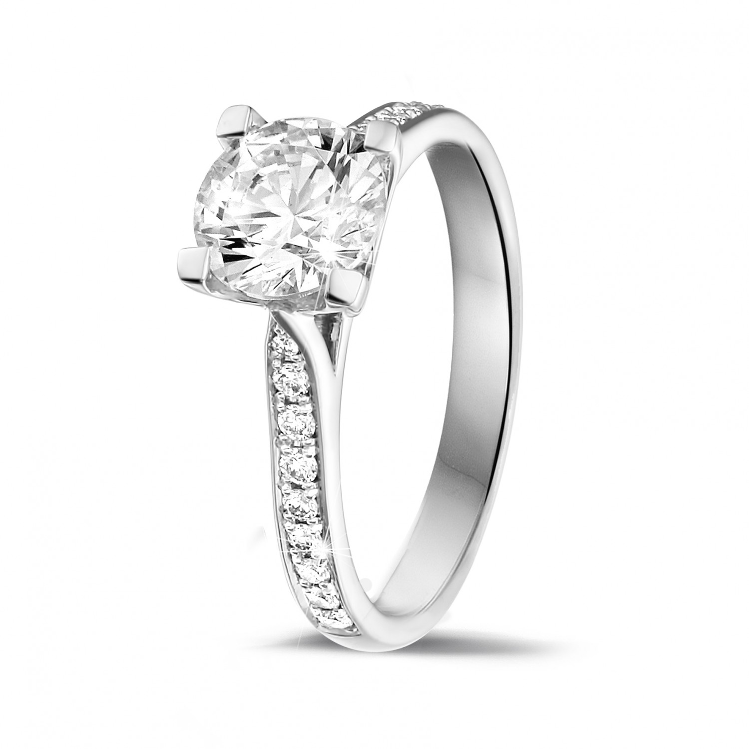 125 Carat Solitaire Diamond Ring In Platinum With Side