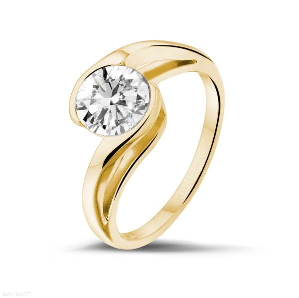 1.25 Carat Solitaire Diamond Ring In Yellow Gold - Baunat