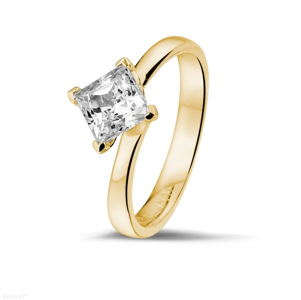 1.25 Carat Solitaire Ring In Yellow Gold With Princess Diamond - Baunat