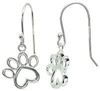 Signature Sterling Silver Paw Print Dangle Earrings ...