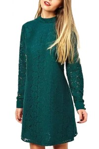 Plain Fitted Stand Collar Lace Midi Dress - Beautifulhalo.com