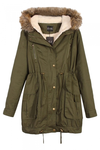 Fluffy Hood Zip Fly Coat with Suede Lining and Drawstring